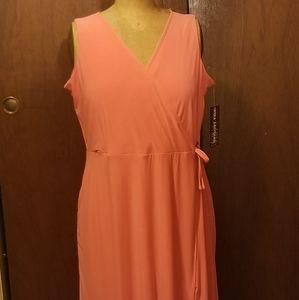 NWT Nina Leonard 2X Coral Faux Wrap Maxi Dress
